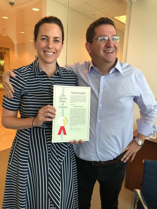 With Abel Avellan holding the patent certificate for our nano satellite technology.