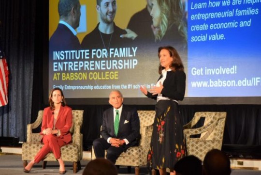 Gustavo and Adriana Cisneros sharing the conversation with Lauri Union, Executive Director of Babson's Institute for Family Entrepreneurship
